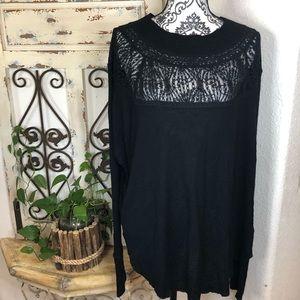 Free people black lace mesh top tunic